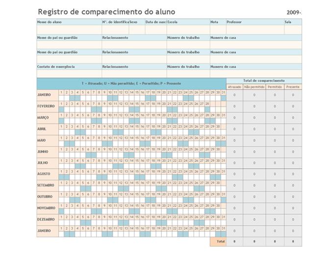 Registro de comparecimento do aluno 2009-2010