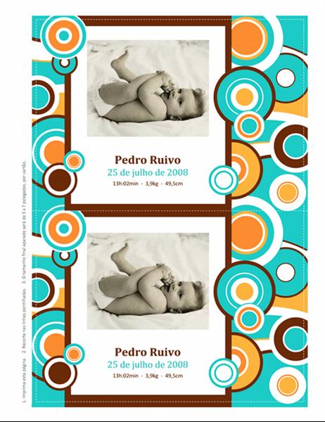 Cartões fotográficos de aviso de nascimento (design de círculos)