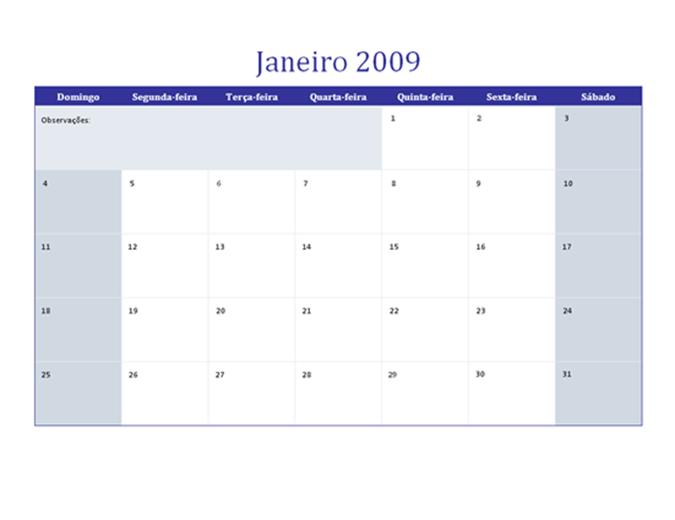 Calendário de 2009 em várias planilhas