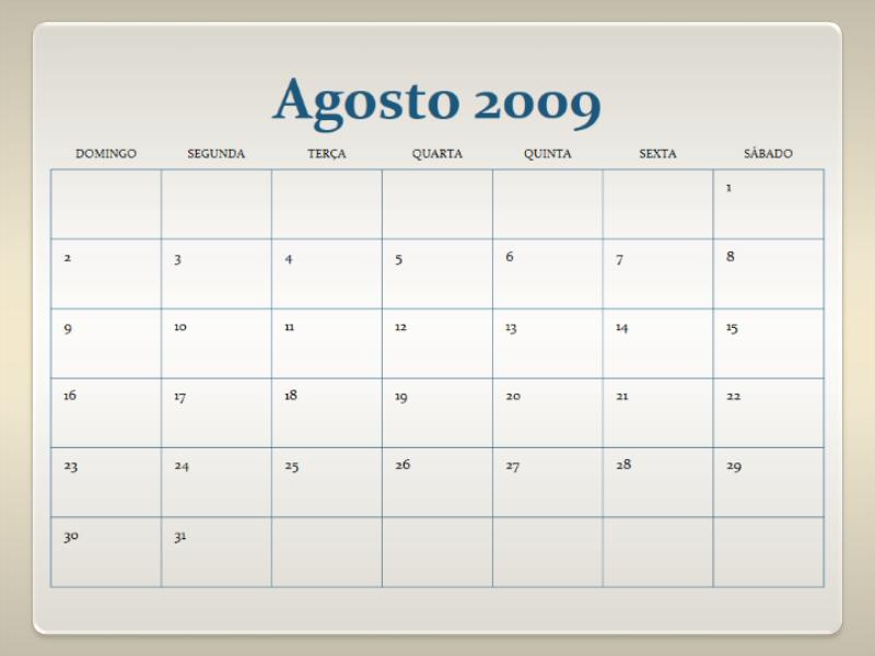 Calendário acadêmico de 2009-2010 (13 páginas, segunda a domingo)