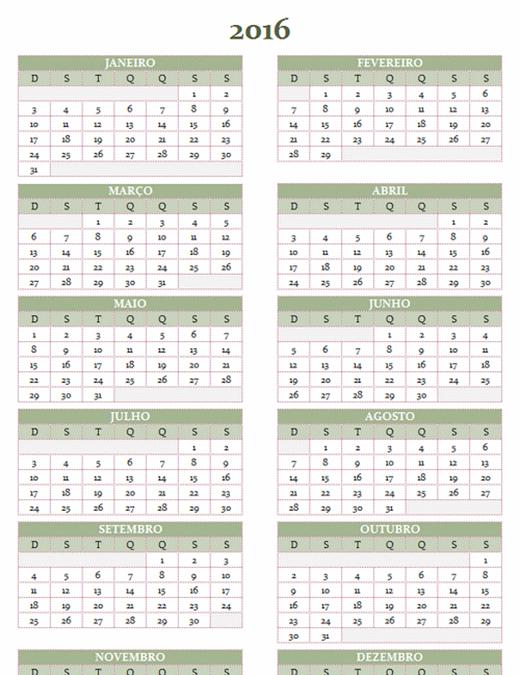 Calendário de 2016-2025 (dom-sáb)