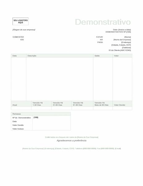Demonstrativo de cobrança (design Verde)