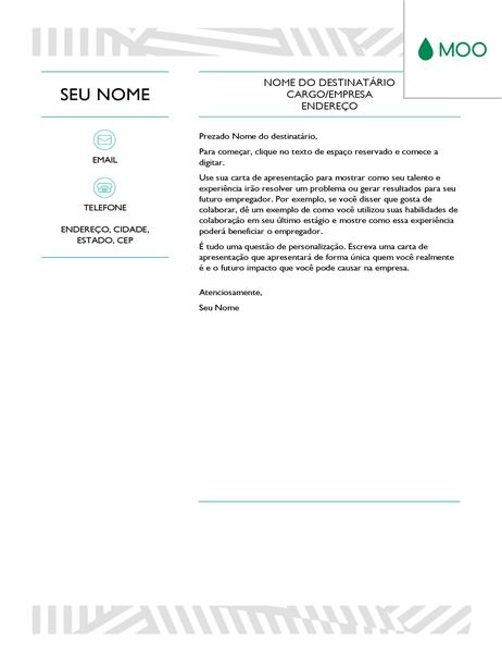 Carta de apresentação criativa, elaborada pela MOO