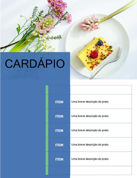 Cardápio de festa (design floral)