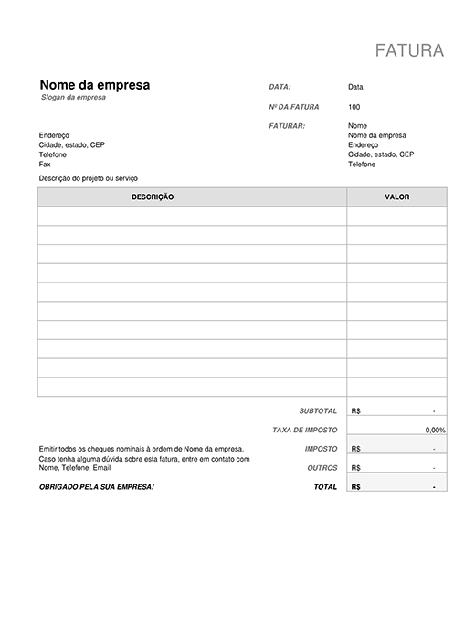 Fatura com cálculo de imposto