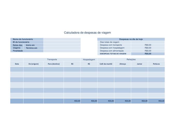 Registro de despesas de viagem
