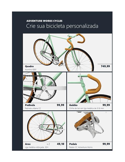 Catálogo de produtos em Excel 3D (modelo de bicicleta)