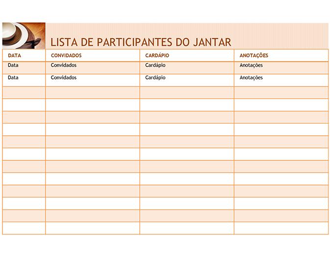 Lista de participantes do jantar com cardápio