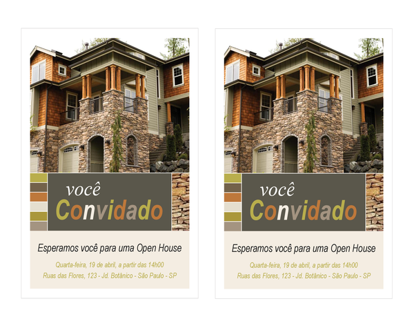 Convite para uma open house (2 por página)