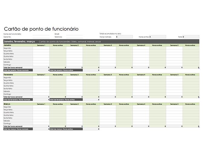 Cartão de ponto de funcionário (diária, semanal, mensal e anual)