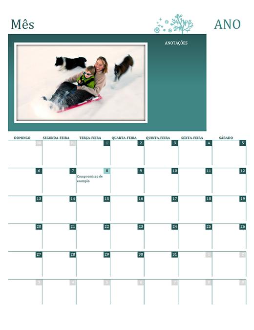 Calendário da família sazonal (qualquer ano, dom-sáb)