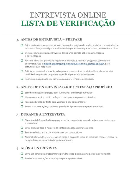 Lista de verificação para entrevista online