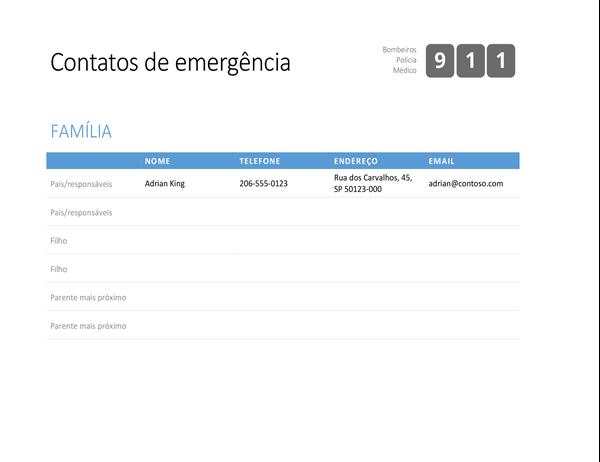 Lista de contatos de emergência em negrito