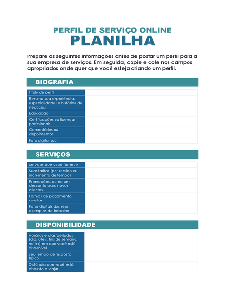 Planilha de perfil de serviço online