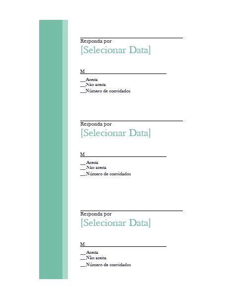 Cartões de resposta de casamento (três unidades por página)