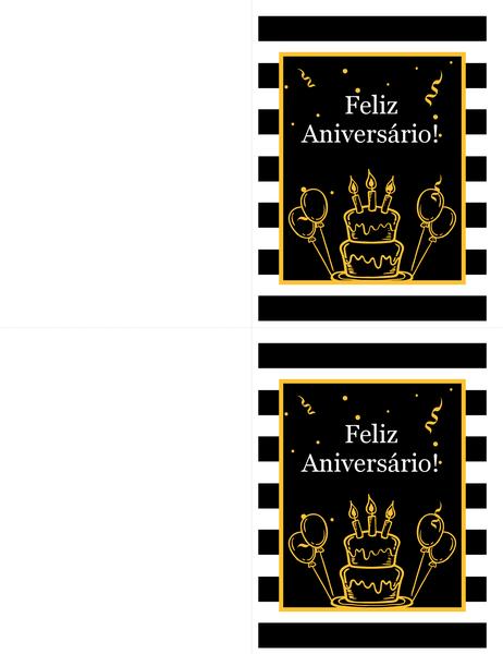 Cartão de aniversário de bolo e balões