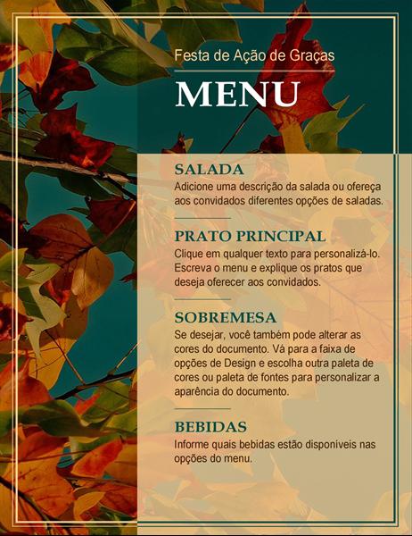 Menu de Ação de Graças com folhas de outono