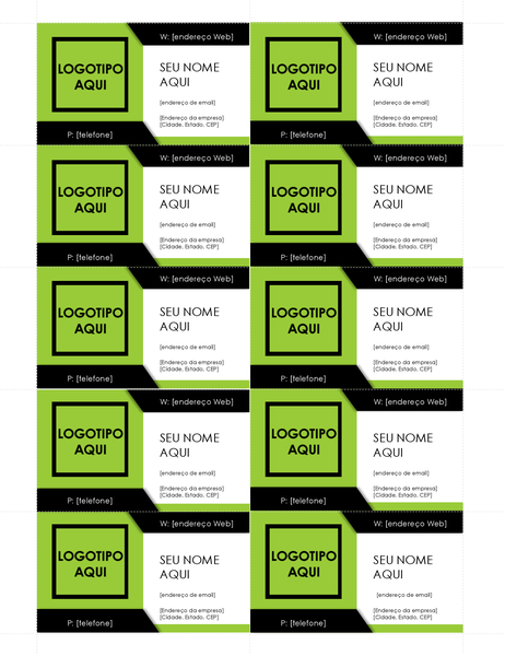 Cartões de visita com logotipo em negrito (10 por página)