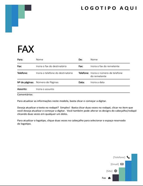 Folha de rosto de fax com degraus azuis