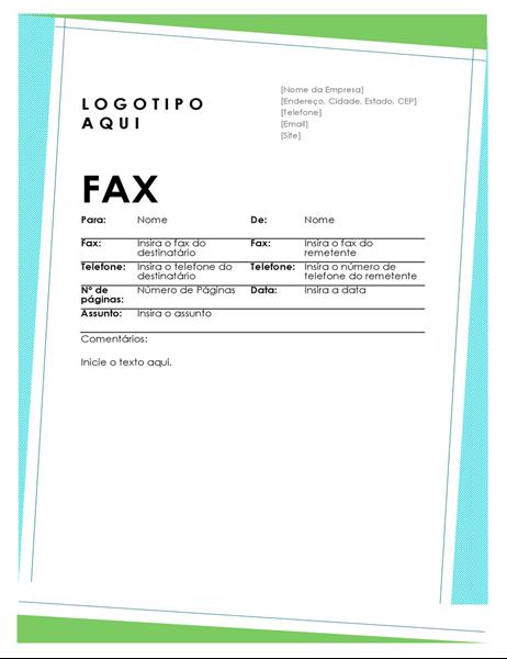 Folha de rosto de fax com formas geométricas