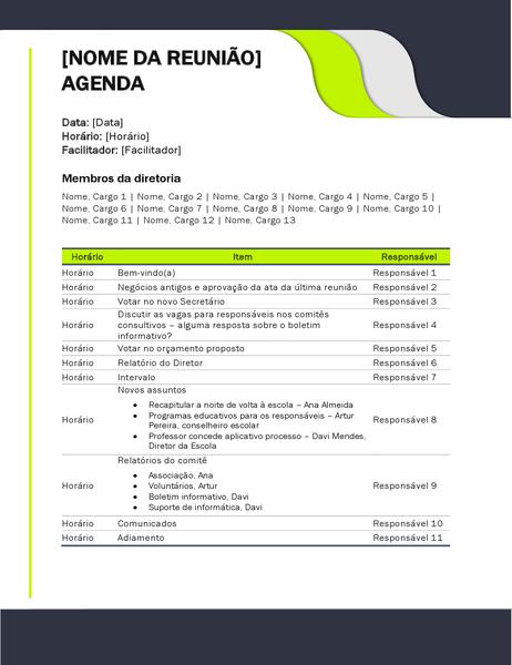 Agenda de reunião educacional