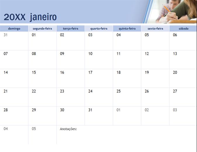 Calendário acadêmico com fotos