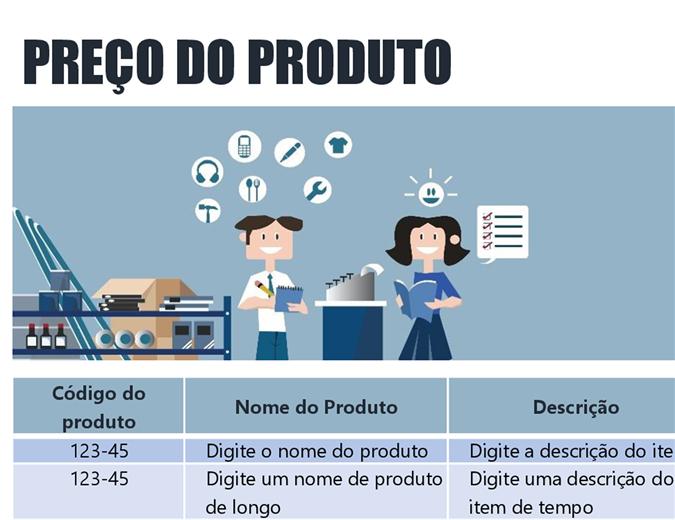 Lista azul de preços de produtos