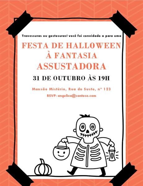 Convite do esqueleto para o Dia das Bruxas