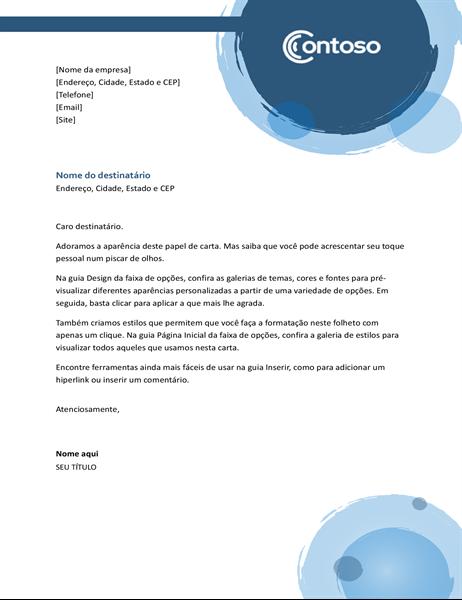 Papel timbrado com esferas azuis