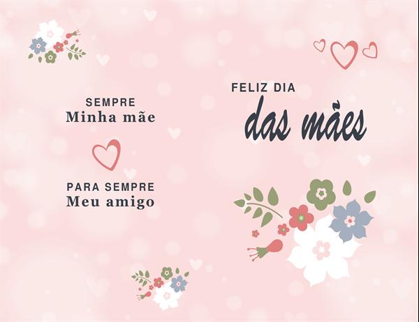 Cartão de Dia das Mães cor-de-rosa