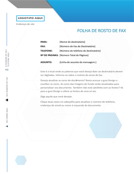 Folha de rosto de fax com hexágono