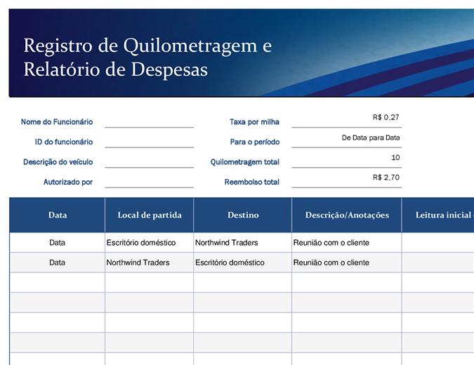 Registro azul de quilometragem e relatório de despesas