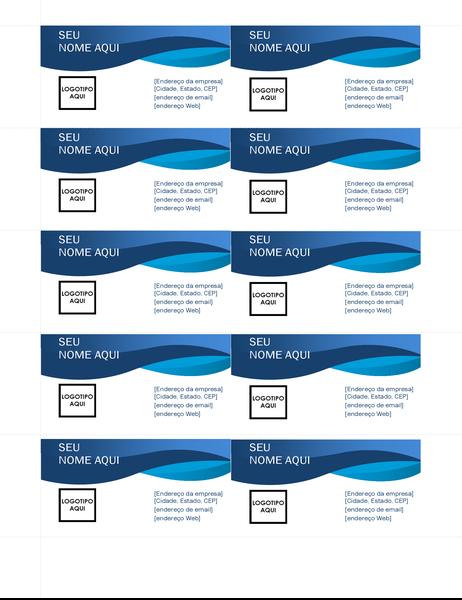 Cartões de visita com curva azul
