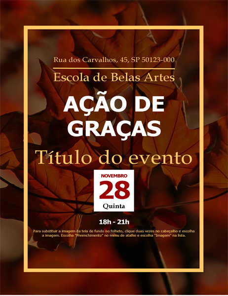 Folheto de ação de graças com folhas de outono