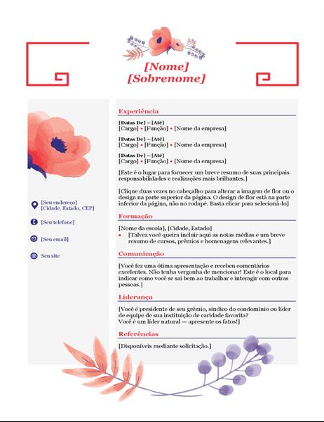 Currículo de flores rosa