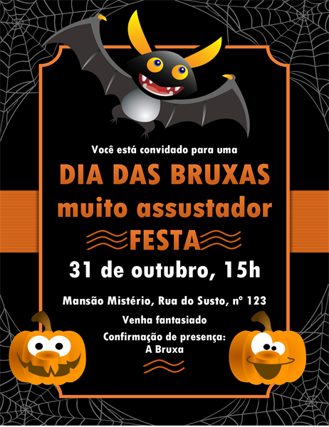 Convite para o Dia das Bruxas