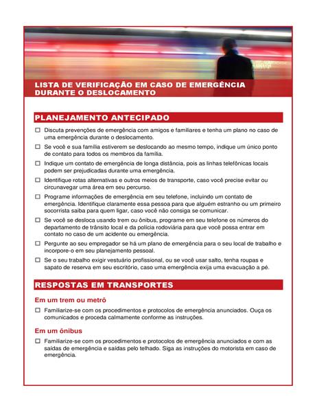 Lista de verificação em caso de emergência durante o deslocamento