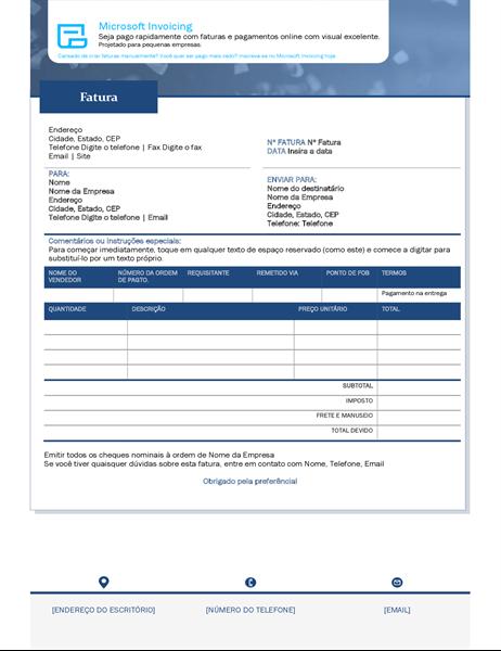 Faturas com o Microsoft Invoicing