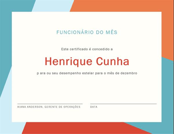 Certificado de funcionário do mês