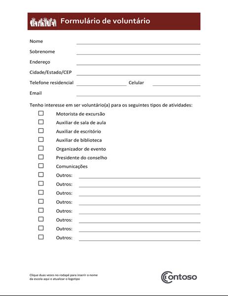Formulário de voluntário