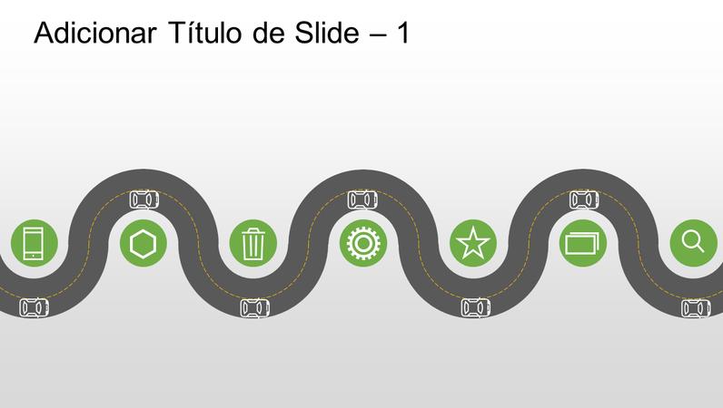 Linha do tempo de progressão com elemento gráfico de estrada
