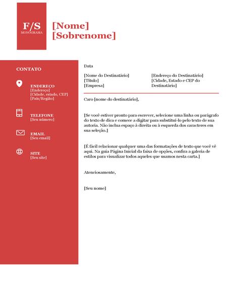 Carta de apresentação monograma forte