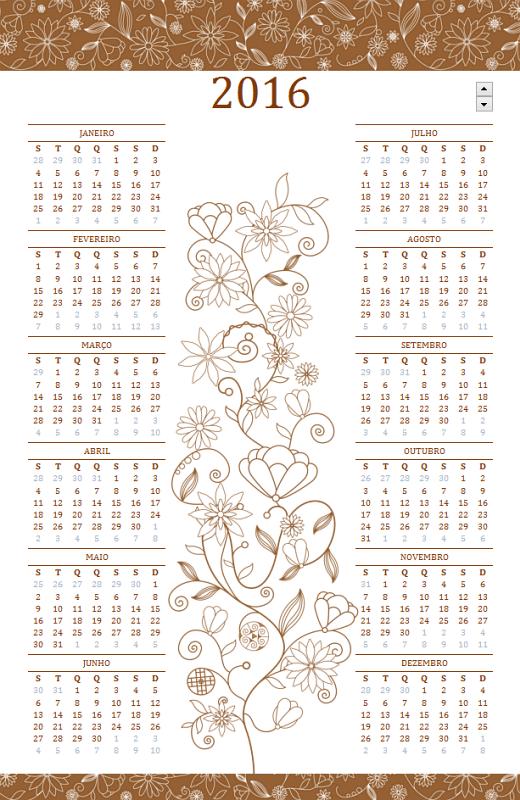 Calendário permanente (seg - dom, design elegante)