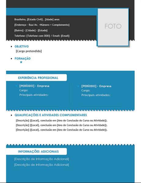 Currículo com Foto (design em preto)
