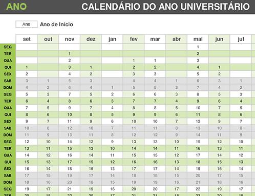 Calendário anual da faculdade