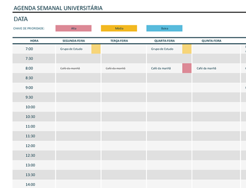 Cronograma semanal da faculdade