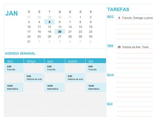 Calendário de estudante