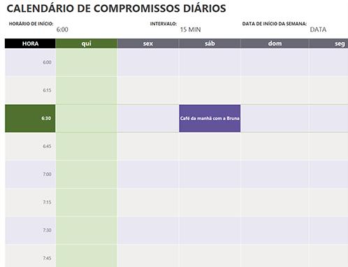 Calendário de compromissos diários