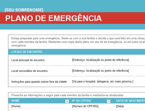 Plano de emergência familiar