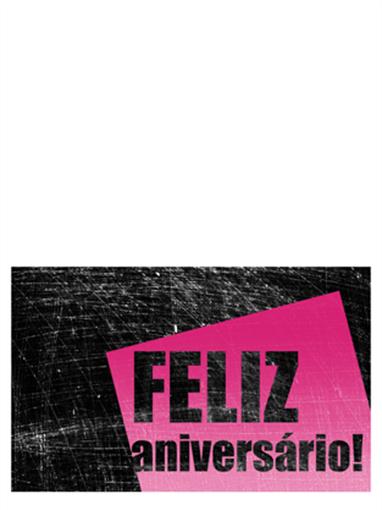 Cartão de aniversário, fundo riscado (rosa, preto, meia dobra)